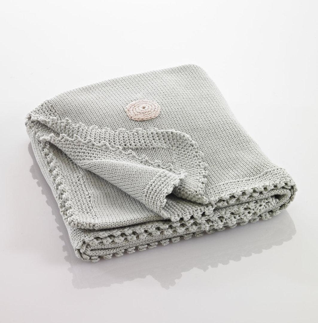 baby strickdecke bio baumwolle grau babydecke decke h keldecke. Black Bedroom Furniture Sets. Home Design Ideas