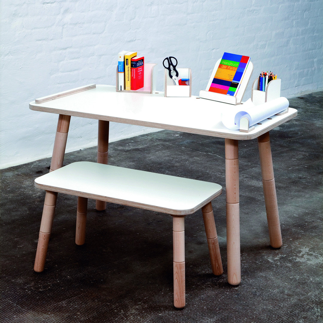 Set kindertisch und bank growing table wei design kinderm bel for Design kindermobel