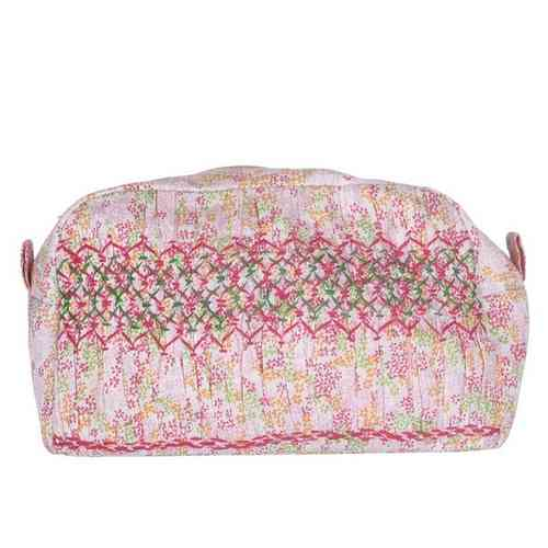 Large Make up Purse with Smock Deco rosa