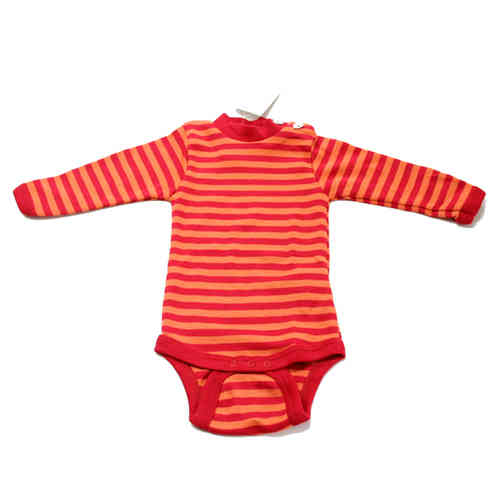 Wolle-Seide Baby Body Langarm Rot-Orange