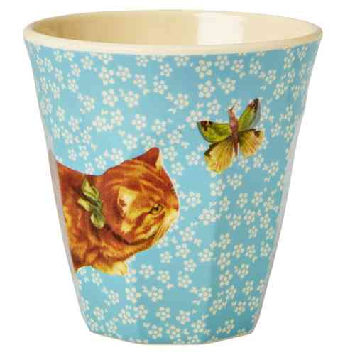 Melamin Becher von Rice Turquoise Flower and Cat Print