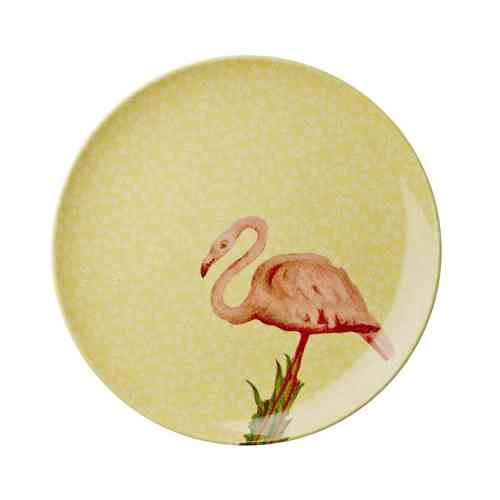 Side Plate Rice Yellow Flower and Flamingo Print